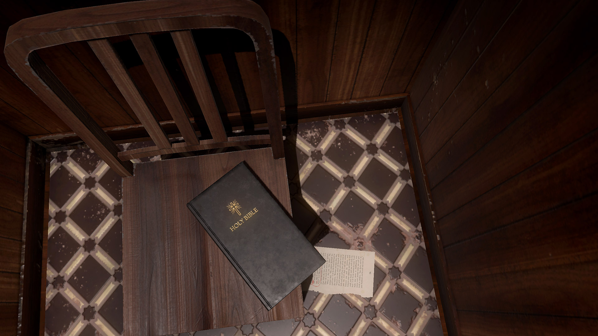 A bible on a chair in the Greenwater Institute
